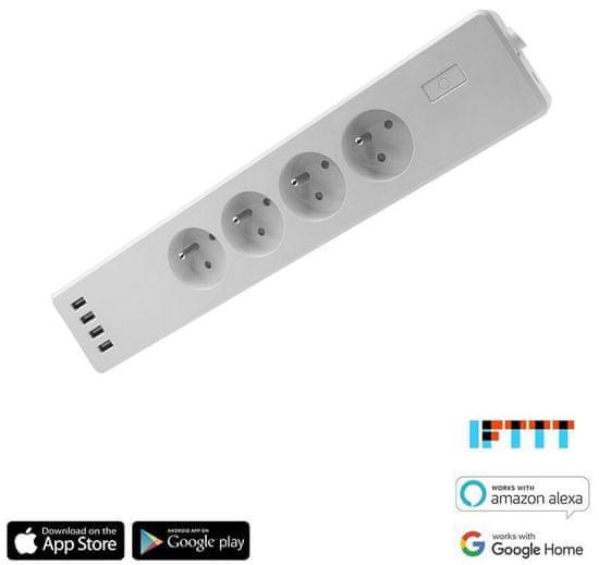 iQ-Tech SmartLife WT004, Wi-Fi 4× zásuvka + 4× USB, 10 A