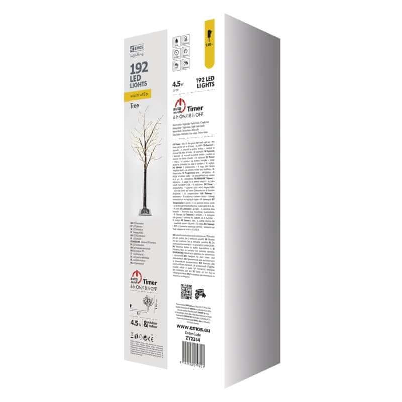 Emos LED vánoční stromek, 120cm, venkovní, teplá bílá, časovač