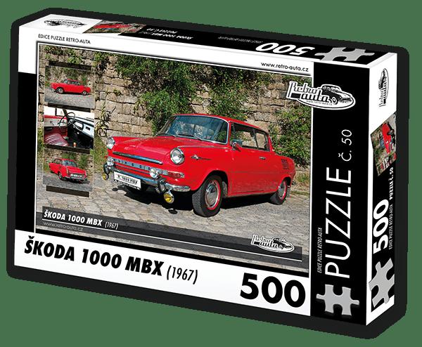 RETRO-AUTA© Puzzle č. 50 - ŠKODA 1000 MBX (1967) 500 dílků