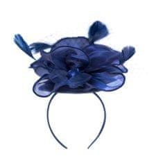 Art of Polo Elegantní fascinátor s peřím modrý