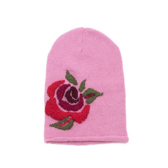 Art of Polo Růžová čepice zdobená růží