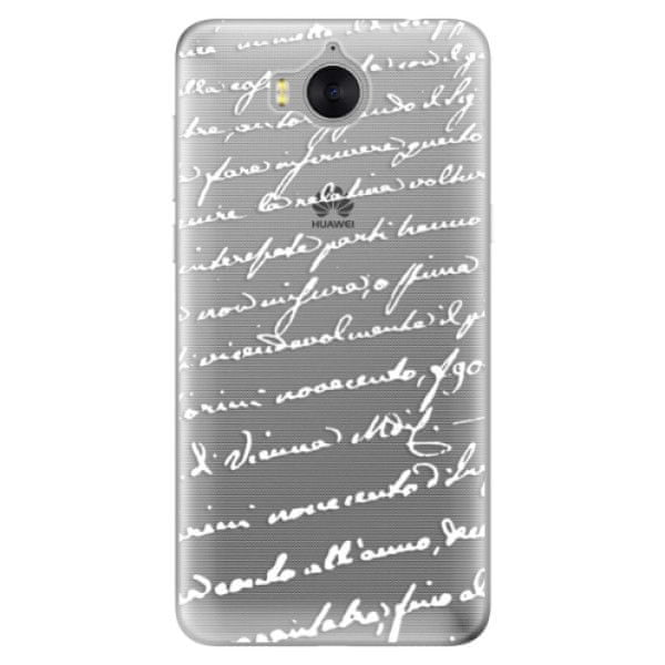iSaprio Silikonové pouzdro - Handwriting 01 - white pro Huawei Y5 2017/Huawei Y6 2017
