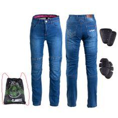 W-TEC Dámské moto jeansy GoralCE - barva modrá, velikost 3XL