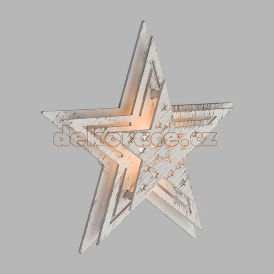 Xmas King Batériové LED hviezda 16cm, biele drevo / teple biela LED