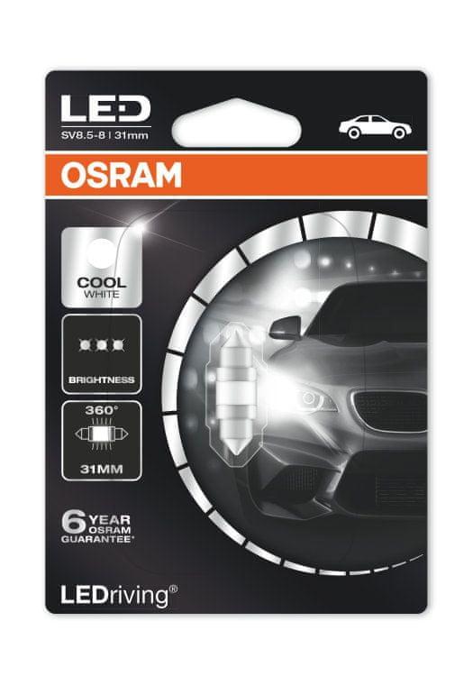 Osram OSRAM LED C5W 6497CW-01B 6000K 12V 1W SV8,5-8 31mm