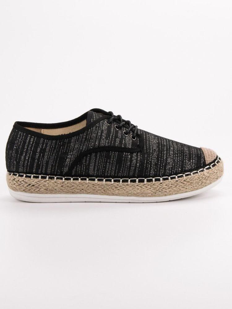 Luxusní dámské polobotky černé bez podpatku, černé, 36