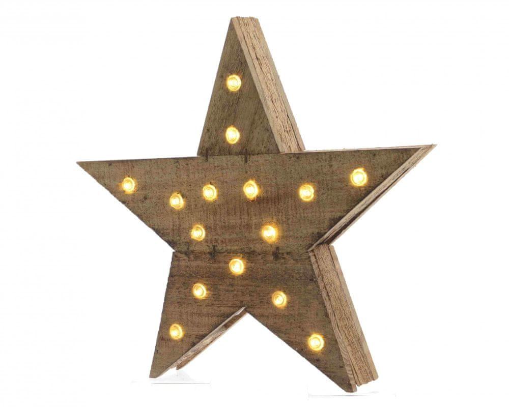 """Kaemingk LED světelná dekorace """"Hvězda"""", dřevěná"""