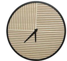 Kaemingk Nástěnné hodiny s pruhy, 40x5 cm, dřevěné - zánovní