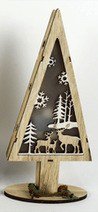 DUE ESSE Dřevěný svítící vánoční stromek 32 cm, sobi