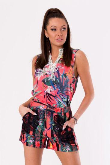 Azaka Top bez rukávů s tropickým vzorem růžový