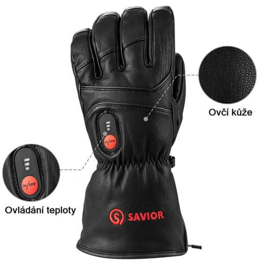 Bezdoteku Vyhrievané rukavice Savior celokožené pánske čierne veľ. XXL