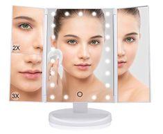 Bezdoteku Třípanelové kosmetické make-up zrcátko s led osvětlením bílé zvětšovací