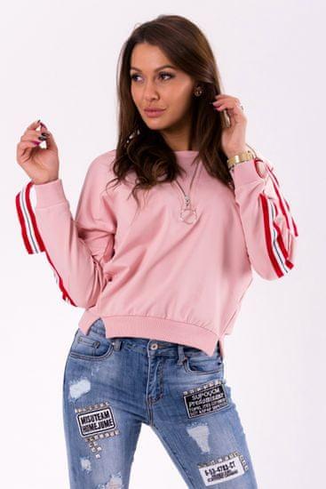 Azaka Růžová mikina s pásky na rukávech