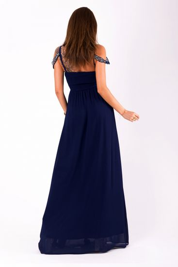 Stylomat Modré večerní šaty se spadlými rameny