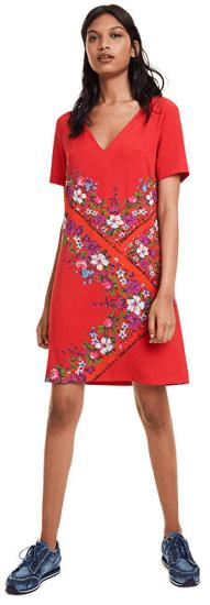 Desigual Dámské šaty Vest Damis Rojo Clavel 19WWVW86 3036