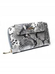 Rovicky Dámská kožená peněženka se vzorem hadí kůže, stříbrná