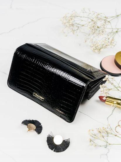 Lorenti Lesklá obdélná peněženka pro dámy, černá
