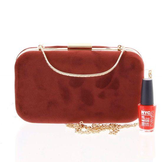 Michelle Moon Elegantní semišové dámské psaníčko tmavě červené ,Ana