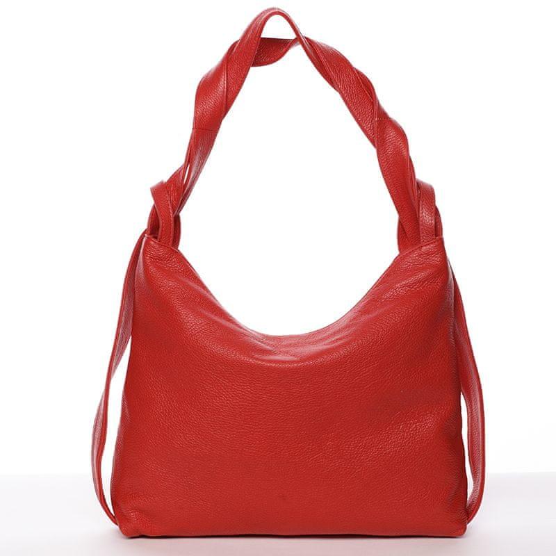 Delami Vera Pelle Stylová kožená kabelka přes rameno Vanessa, červená