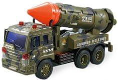Lamps vojaški tovornjak z raketo, baterije
