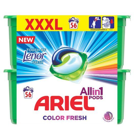 Ariel Touch of Lenor All In One gelové kapsle 56 ks