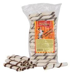 Magnum pasji priboljški Rawhide roll stick, 12,5 cm (cca 40 kosov), rjavi/beli