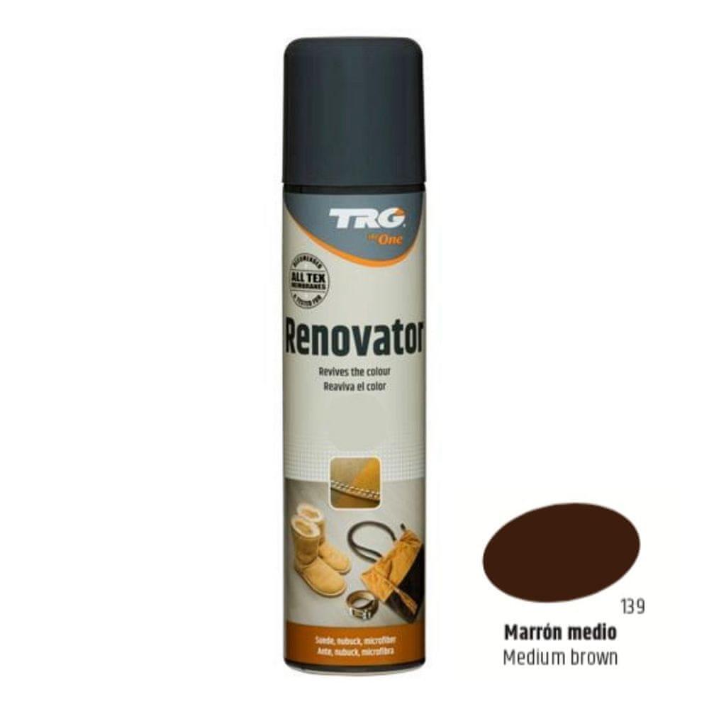 TRG One Barvící sprej na semiš, nubuk a ovčí kůži Suede Renovator - Hnědá 139 Middle Brown