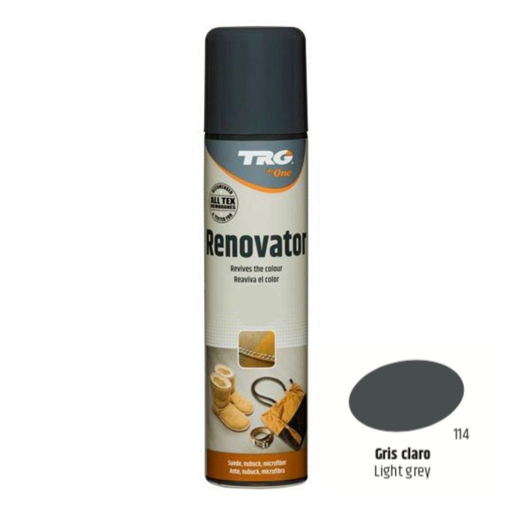 TRG One Barvící sprej na semiš, nubuk a ovčí kůži Suede Renovator - Šedá 114 Light Gray