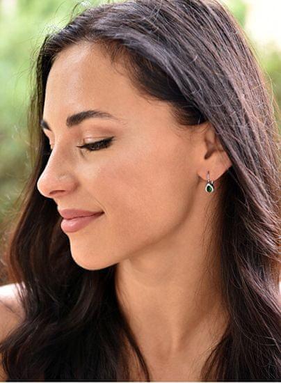 Beneto Srebrni uhani z zelenim kristalom AGUC1161