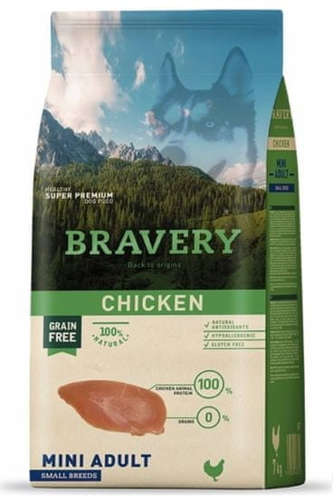 Bravery Dog ADULT MINI Grain Free chicken, 2 kg