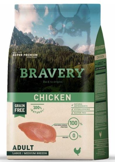 Bravery hrana za pse Dog ADULT Large / Medium Grain Free chicken, 12 kg