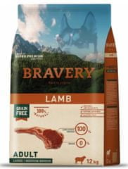 Bravery Dog ADULT Large / Medium Grain Free Lamb 12 kg