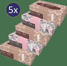 Onclé Papierové vreckovky BOX - 5 x 80 ks - 4-vrstvové - so šípkovým olejom a prírodným squalanom