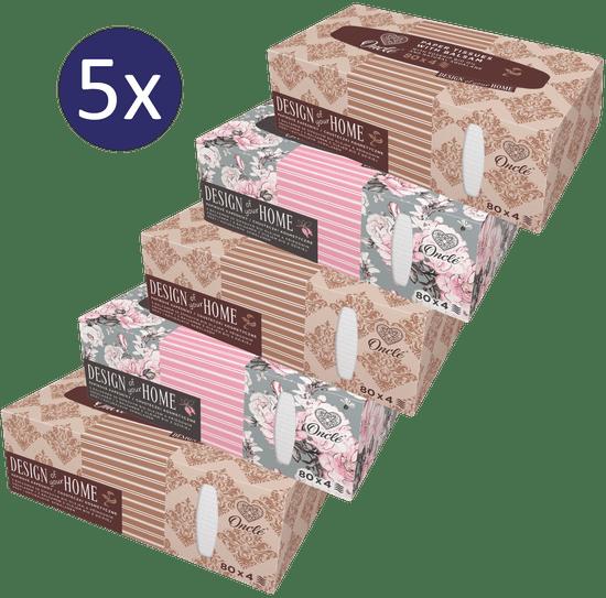 Onclé Papírové kapesníky BOX – 5x 80ks – 4vrstvé – se šípkovým olejem a přírodním squalanem