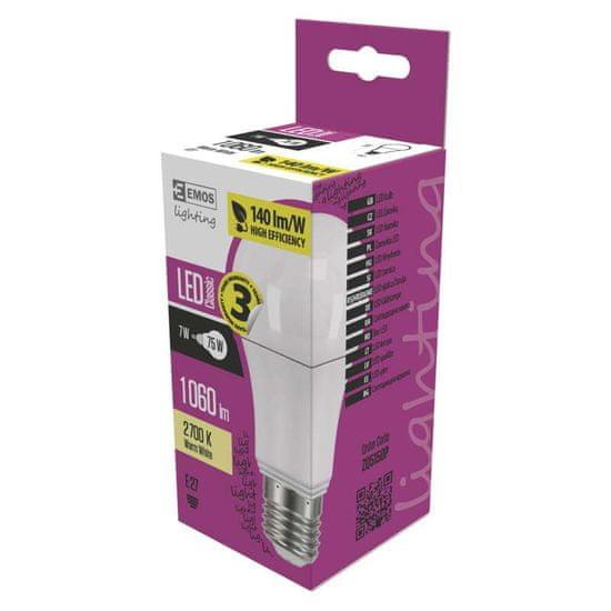 Emos LED Classic A60 7,5 W, E27 žarnica, topla bela