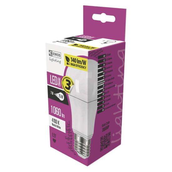 Emos LED žarnica Classic A60 7,5 W E27, nevtralno bela