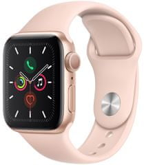 Apple Refurbished Watch Series 5, 40mm Gold Aluminium Case with Pink Sand Sport Band
