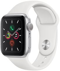 Apple Refurbished Watch Series 5, 40mm Silver Aluminium Case with White Sport Band