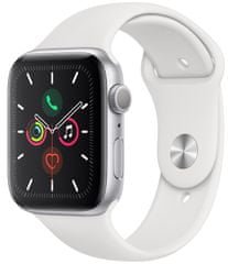 Apple Refurbished Watch Series 5, 44mm Silver Aluminium Case with White Sport Band