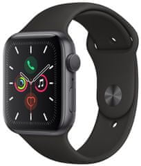 Apple Refurbished Watch Series 5, 44mm Space Gray Aluminium Case with Black Sport Band