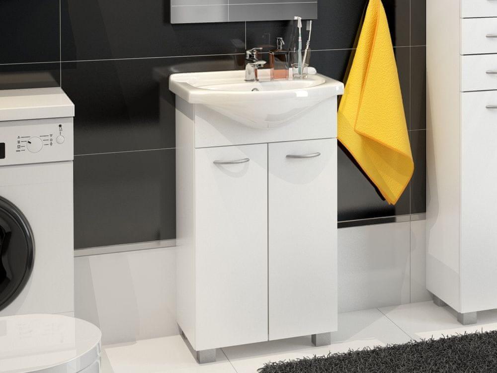 Koupelnová skříňka NEJBY D50 s umyvadlem, bílá