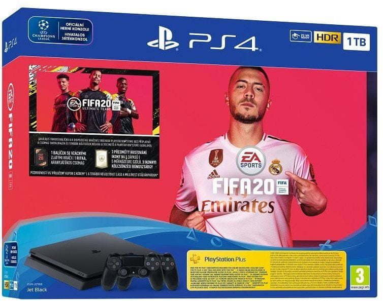 Sony PlayStation 4 Slim - 1TB + 2× DualShock4 + FIFA 20 - zánovní