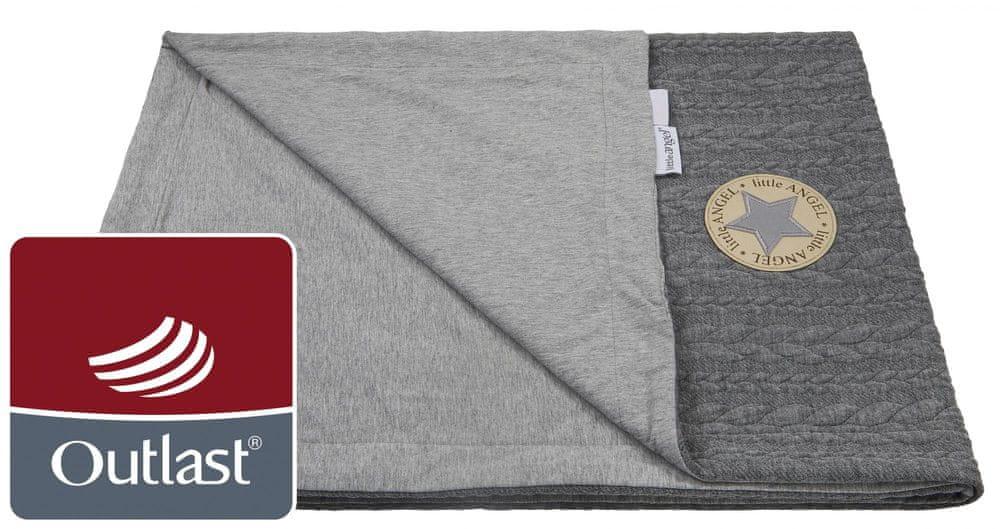 Little Angel deka dvojitá Copánky tenká Outlast šedá/šedý melír