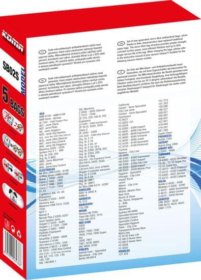 KOMA SB02S - Sada 25ks sáčků do vysavačů Electrolux, AEG, kompatibilní se sáčky typu S-BAG