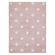 Lorena Canals Bio koberec kusový, ručne tkaný Stars Pink-White 120x160