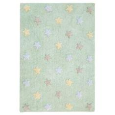 Lorena Canals Bio koberec kusový, ručne tkaný Tricolor Stars Soft Mint 120x160