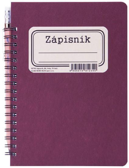 Bobo Zápisník s boční kroužkovou vazbou s tužkou RETRO B6 linkovaný, 70 listů, bordó