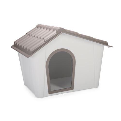 IMAC Bouda pro psa plastová, šedá/hnědá 98,5x77,5x72,5 cm