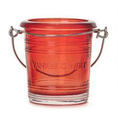 Yankee Candle Svietnik sklenený , výška 6.5 cm, červený