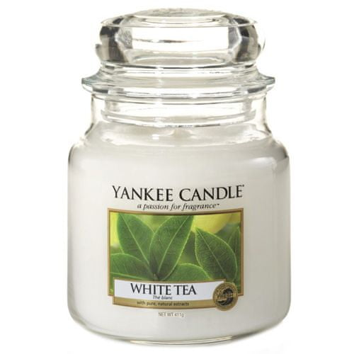 Yankee Candle Sveča v steklenem kozarcu , Beli čaj, 410 g